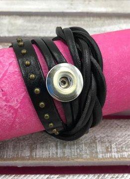 Black Leather Snap Wrap Bracelet