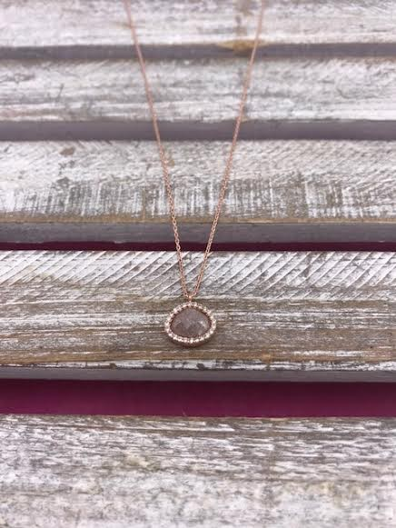 Italian Sterling Silver Rose Gold Plated Adjustable Necklace with Quartz Pendant