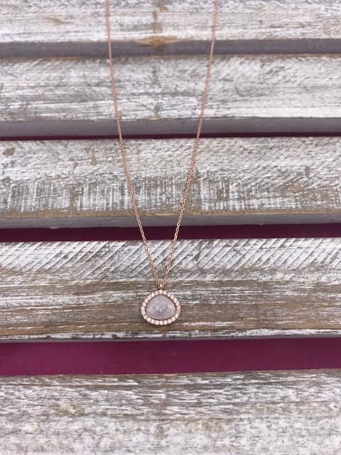Italian Sterling Silver Rose Gold Plated White Quartz Necklace