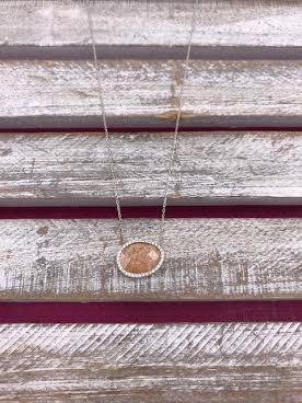 Italian Sterling Silver Quartz Stone Pendant with Adjustable Chain
