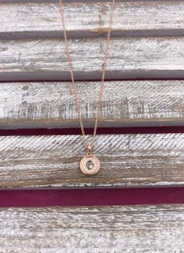 Italian Sterling Silver Rose Gold Plated Round Fancy Pendant with a Loose Crystal