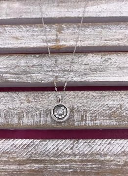 Italian Sterling Silver Circle Pendant with Loose Crystals