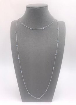 Italian Sterling Silver Double Stranded Chain with Blue Crystals
