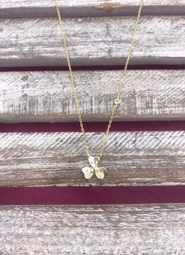 Italian Sterling Silver Gold Plated Three Leaf Clover Pendant Necklace