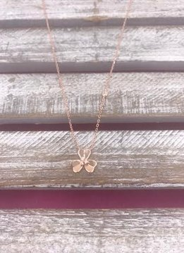 Italian Sterling Silver Rose Gold Plated Three Leaf Clover Pendant Necklace