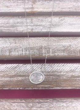 Italian Sterling Silver White Quartz Necklace