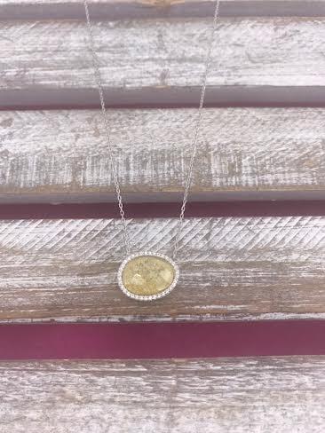 Italian Sterling Silver Yellow Quartz Necklace