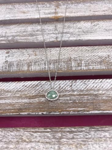 Italian Sterling Silver Green Quartz Necklace