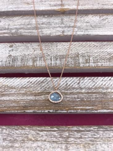 Italian Sterling Silver Rose Gold Plated Blue Quartz Necklace