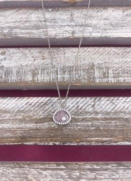 Italian Sterling Silver Rose Quartz Necklace