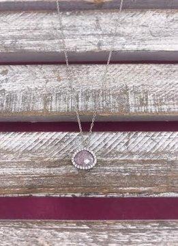 Italian Sterling Silver Rose Quartz Necklace