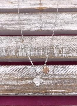 Italian Sterling Silver Flower with Rose Gold Flower Drop Necklace