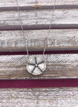 Italian Sterling Silver with Mother of Pearl Flower Necklace