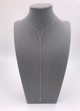 Italian Sterling Silver V Drop Necklace