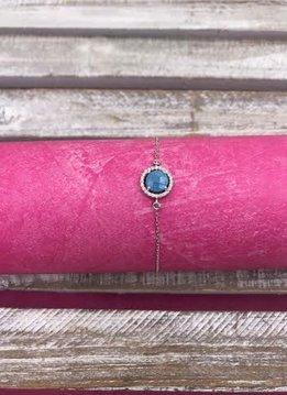 Italian Sterling Silver Circle Blue Quartz Adjustable Bracelet