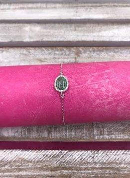 Italian Sterling Silver Oval Green Quartz Adjustable Bracelet