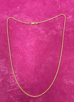 Italian Sterling Silver Yellow Gold Plated Rope Chain 20 inches