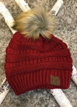 Burgundy Winter Hat with Natural Faux Pom