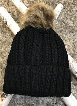 Black Cuffed and Lined Beanie with Natural Pom