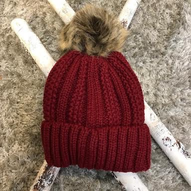 Burgundy Cuffed and Lined Beanie with Natural Pom - It s a Bling Thing edf874a46e5
