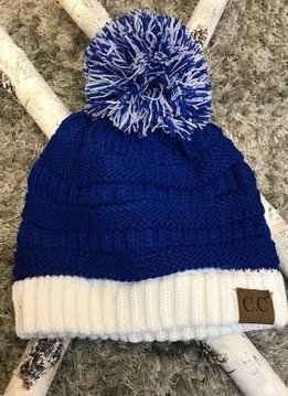 Blue and White Winter Beanie with Pom