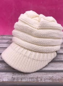 Ivory Knit Beanie with Brim