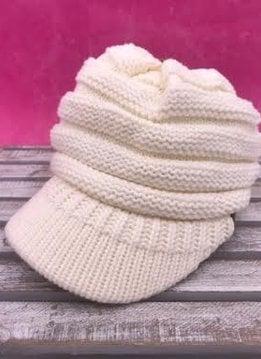 Ivory Knit Beanie with Brim
