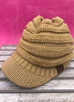 Gold Metallic Knit Beanie with Brim