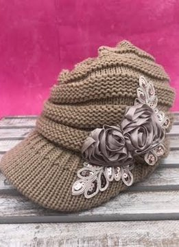 Taupe Knit Beanie with Brim and Flowers