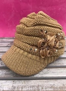Metallic Gold Knit Beanie with Brim and Flowers