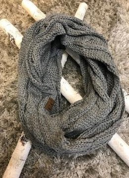 Light Melange Grey Knit Winter Infinity Scarf