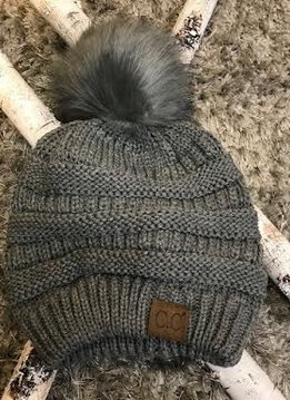 Light Melange Grey Knit Winter Hat with Color Matched Pom
