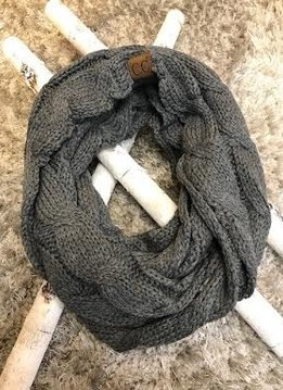 Dark Grey Knit Winter Infinity Scarf