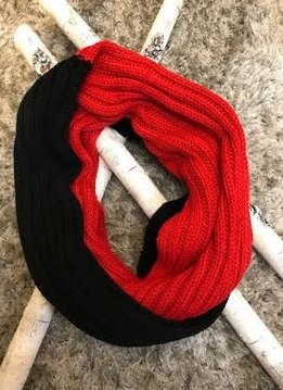 Red and Black Knit Winter Infinity Scarf