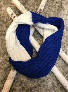 Blue and White Knit Winter Infinity Scarf