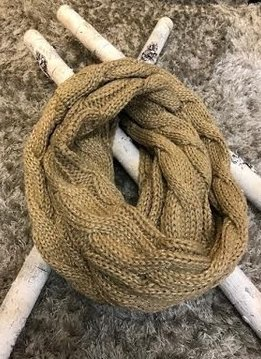 Gold Metallic Knit Infinity Scarf