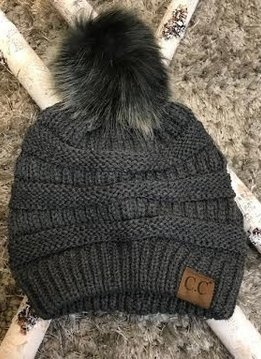 Dark Grey Knit Winter Hat with Color Matched Pom