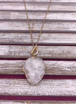 Long Gold Necklace with White Geode Pendant