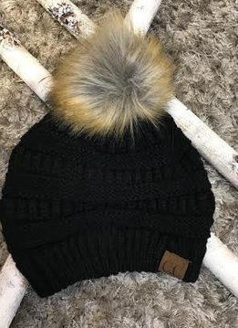 Black Winter Hat with Natural Faux Pom