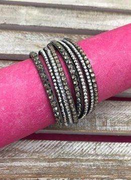 Gray Leather Wrap Bracelet with Rhinestones