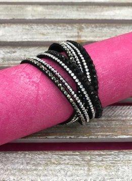 Black Leather Wrap Bracelet with Rhinestones