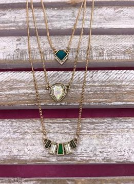 Three Layered Gold Necklace with Geometric Jewel Stones