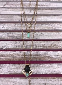 Gold Layered Necklace with Turquoise Pendants