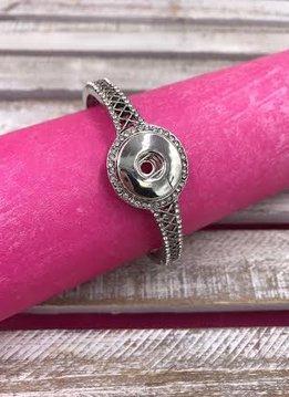 Silver Snap Stretch Bracelet with Rhinestones