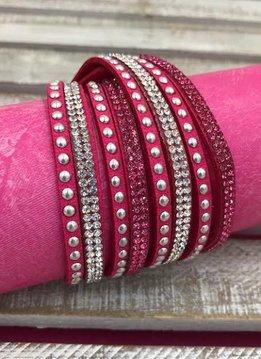 Hot Pink Leather Wrap Bracelet with Rhinestones