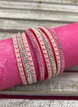 Light Pink Leather Wrap Bracelet with Rhinestones