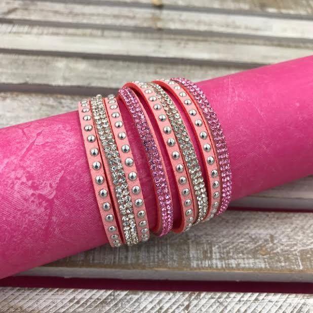 Light Pink Leather Wrap Bracelet with Rhinestones