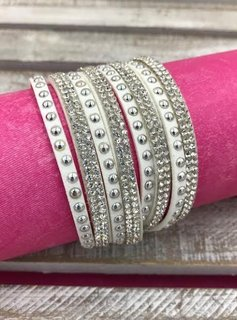 White Leather Wrap Bracelet with Rhinestones
