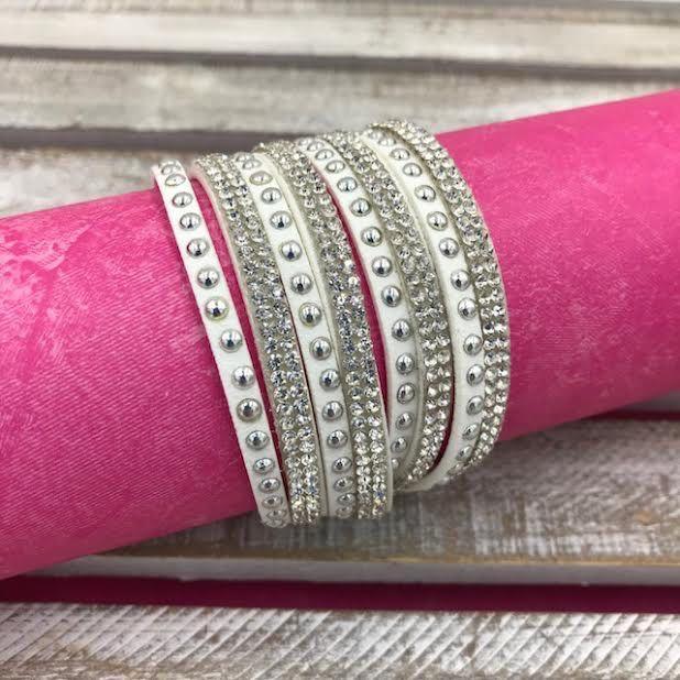 White Leather Wrap Bracelet with Rhinestones