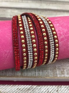 Red Leather Wrap Bracelet with Rhinestones